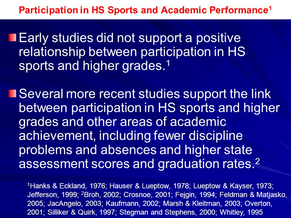 Participation in HS Sports and Academic Performance 1 Early studies did not support a positive relationship between participation in HS sports and hig