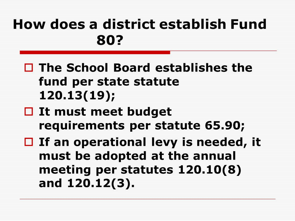 How does a district establish Fund 80.