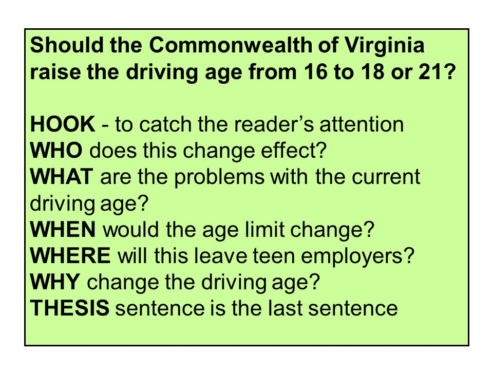 Should the Commonwealth of Virginia raise the driving age from 16 to 18 or 21.