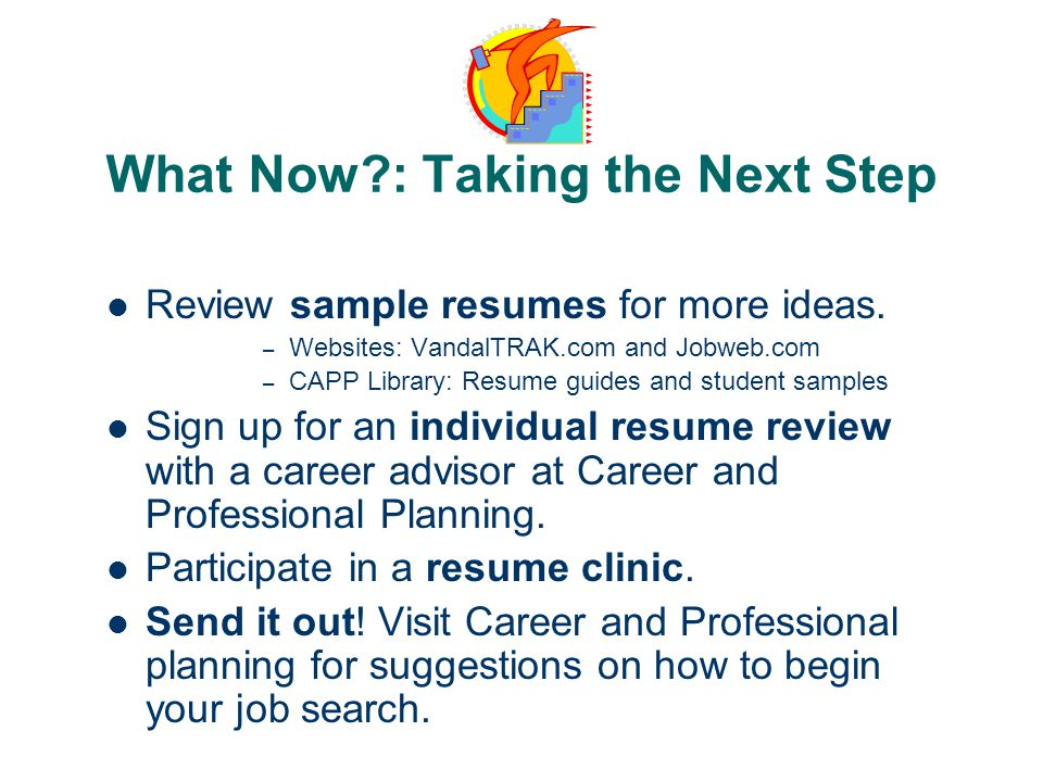 What Now : Taking the Next Step Review sample resumes for more ideas.