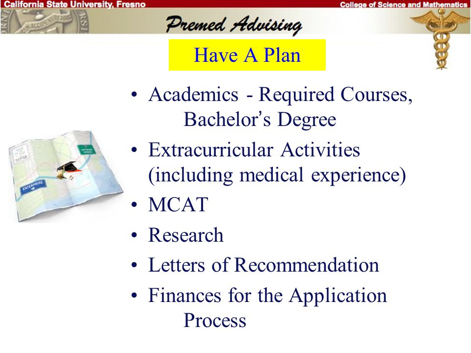 Have A Plan Academics - Required Courses, Bachelor's Degree Extracurricular Activities (including medical experience) MCAT Research Letters of Recommendation Finances for the Application Process Diploma