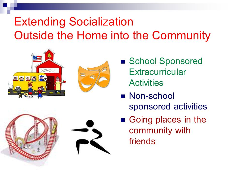 Extending Socialization Outside the Home into the Community School Sponsored Extracurricular Activities Non-school sponsored activities Going places i