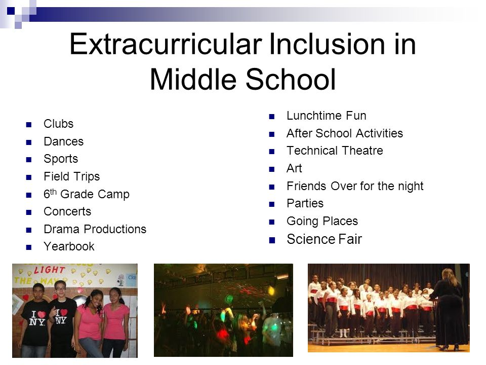 Extracurricular Inclusion in Middle School Clubs Dances Sports Field Trips 6 th Grade Camp Concerts Drama Productions Yearbook Lunchtime Fun After Sch