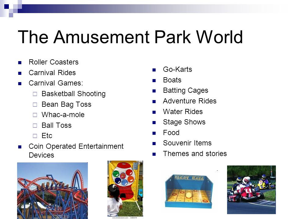 The Amusement Park World Roller Coasters Carnival Rides Carnival Games:  Basketball Shooting  Bean Bag Toss  Whac-a-mole  Ball Toss  Etc Coin Ope