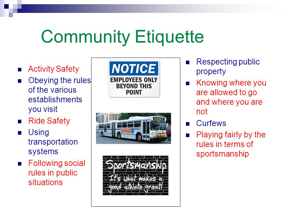 Community Etiquette Activity Safety Obeying the rules of the various establishments you visit Ride Safety Using transportation systems Following socia