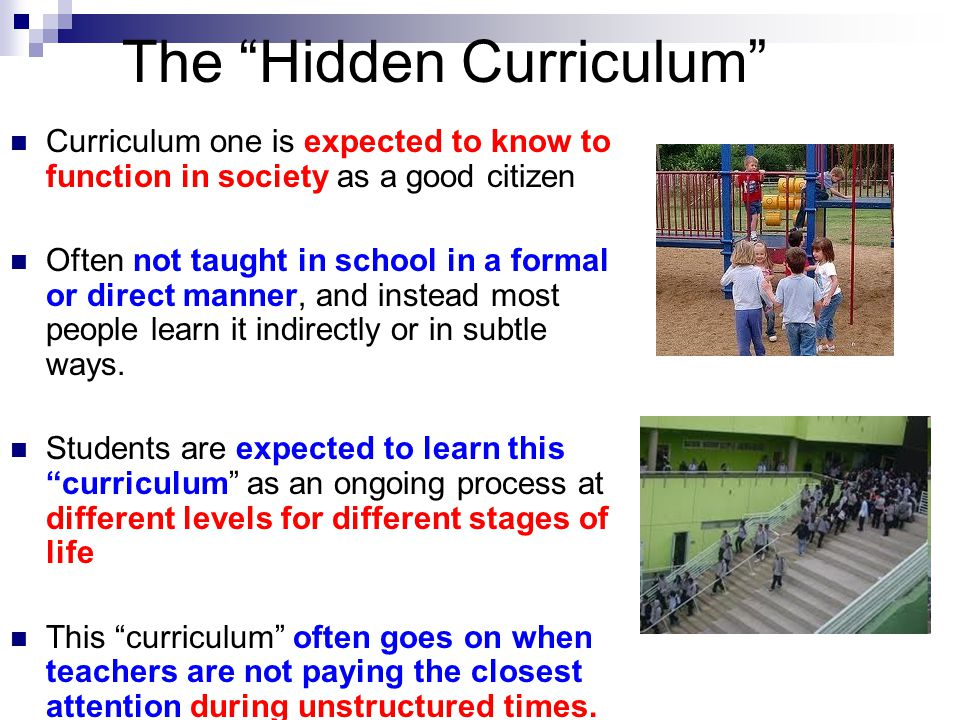 """The """"Hidden Curriculum"""" Curriculum one is expected to know to function in society as a good citizen Often not taught in school in a formal or direct m"""
