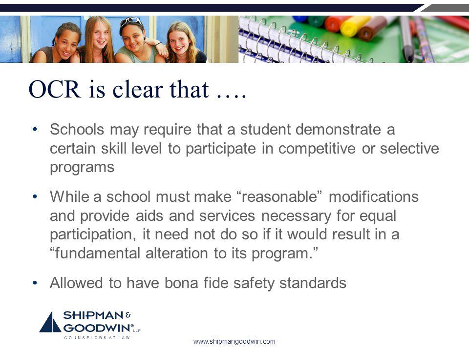 www.shipmangoodwin.com OCR is clear that ….