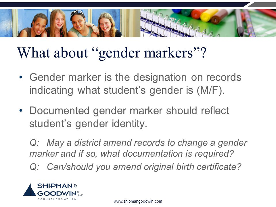 www.shipmangoodwin.com What about gender markers .