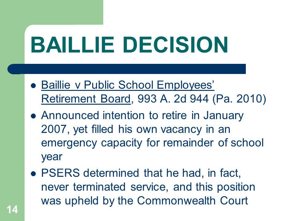 BAILLIE DECISION Baillie v Public School Employees' Retirement Board, 993 A.