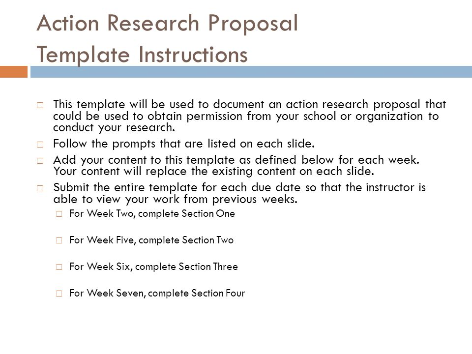 Action Research Proposal Complete the following for Week Two:  Problem statement  Problem description  Purpose of the project  Writer's role Note: You may add additional slides if necessary.