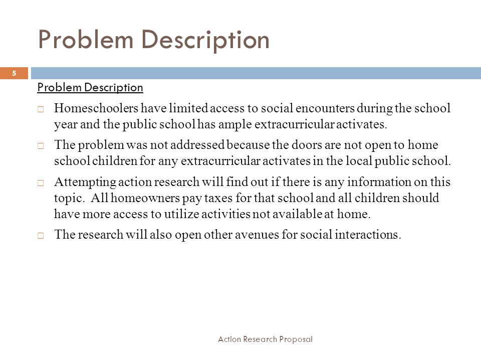 Purpose of the Project Action Research Proposal Purpose of the Project  The purpose of this project is to determine if local public schools opened their doors to homeschooled children for extracurricular activities, would that increase their social interactions.