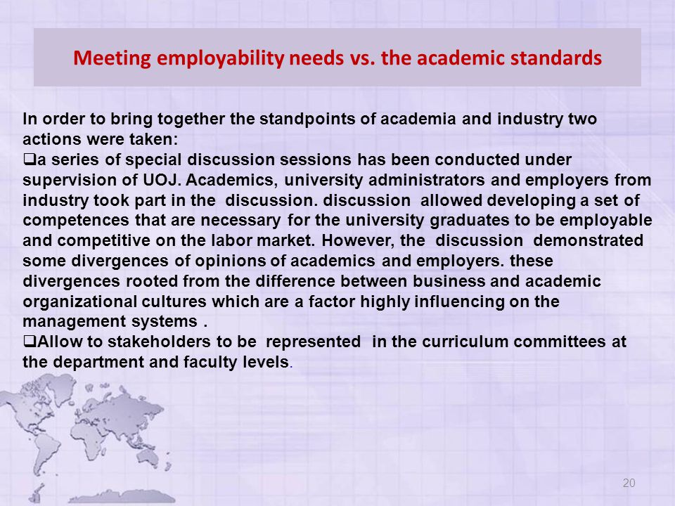 Meeting employability needs vs.