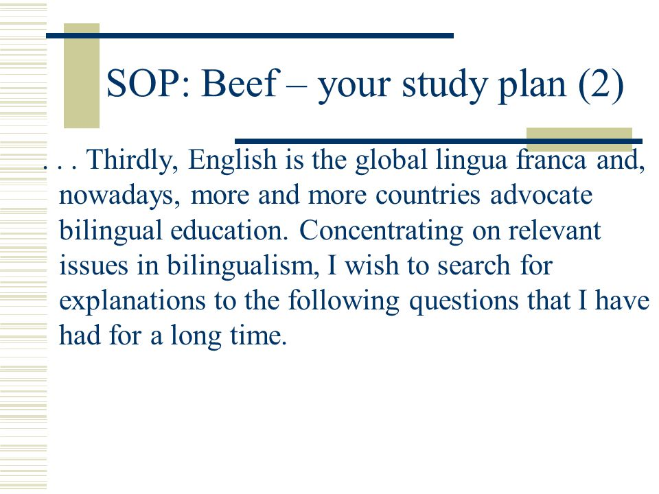 SOP: Beef – your study plan (2)...