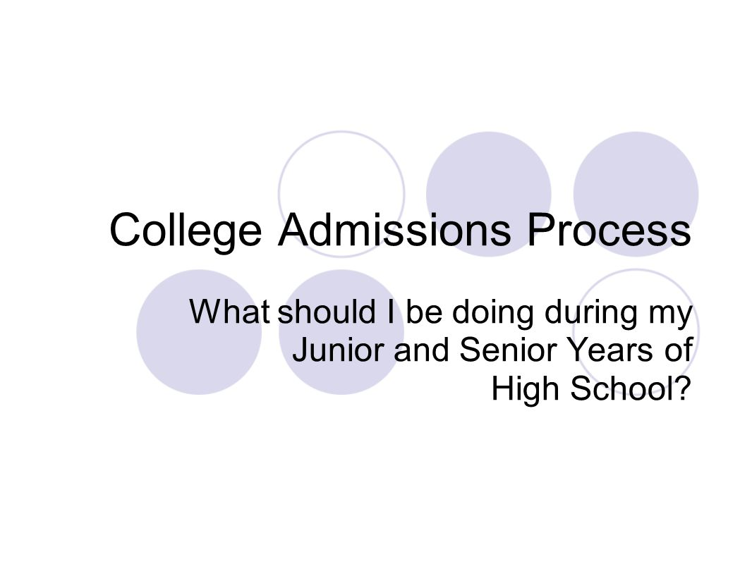 College Admissions Process What should I be doing during my Junior and Senior Years of High School?