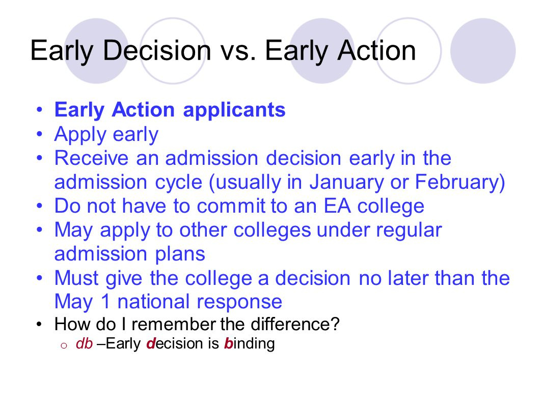 Early Decision vs. Early Action Early Action applicants Apply early Receive an admission decision early in the admission cycle (usually in January or