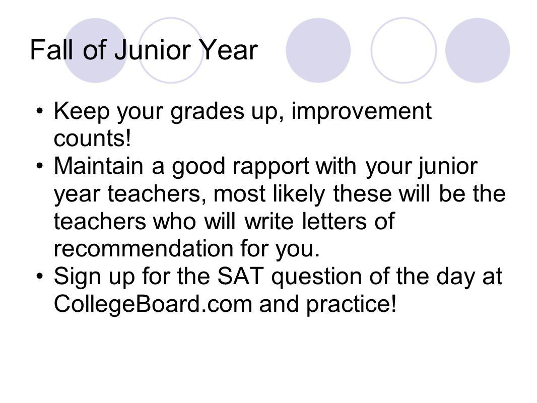 Winter of Junior Year Study Hard.