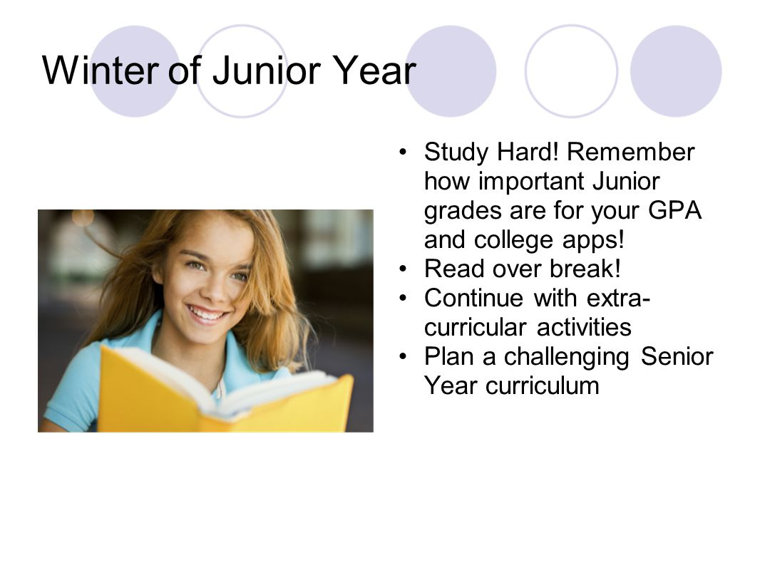 Winter of Junior Year Study Hard! Remember how important Junior grades are for your GPA and college apps! Read over break! Continue with extra- curric