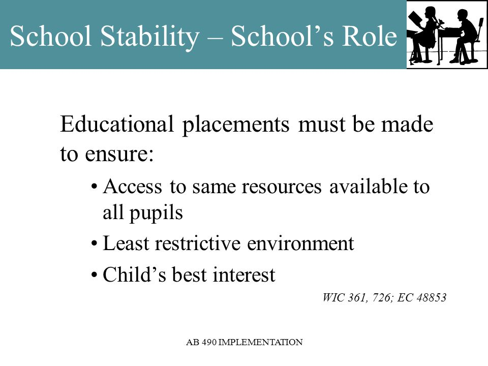 AB 490 IMPLEMENTATION School Stability – School's Role Educational placements must be made to ensure: Access to same resources available to all pupils Least restrictive environment Child's best interest WIC 361, 726; EC 48853