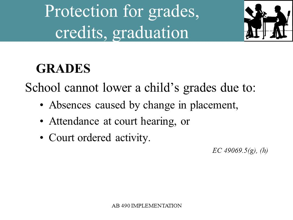 AB 490 IMPLEMENTATION Protection for grades, credits, graduation GRADES School cannot lower a child's grades due to: Absences caused by change in placement, Attendance at court hearing, or Court ordered activity.
