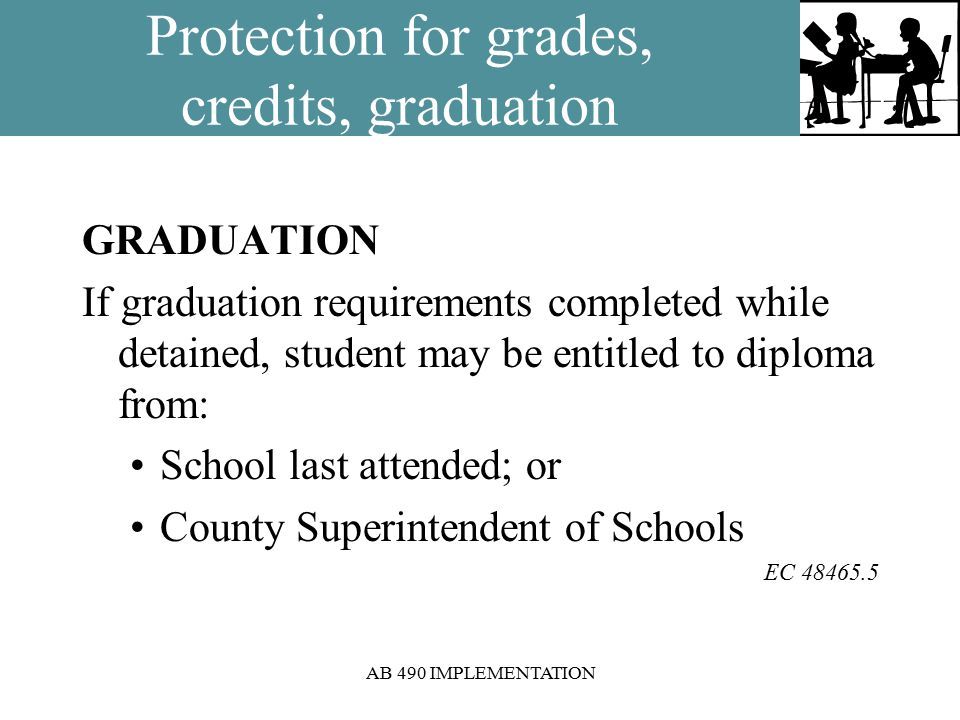 AB 490 IMPLEMENTATION Protection for grades, credits, graduation GRADUATION If graduation requirements completed while detained, student may be entitled to diploma from: School last attended; or County Superintendent of Schools EC 48465.5