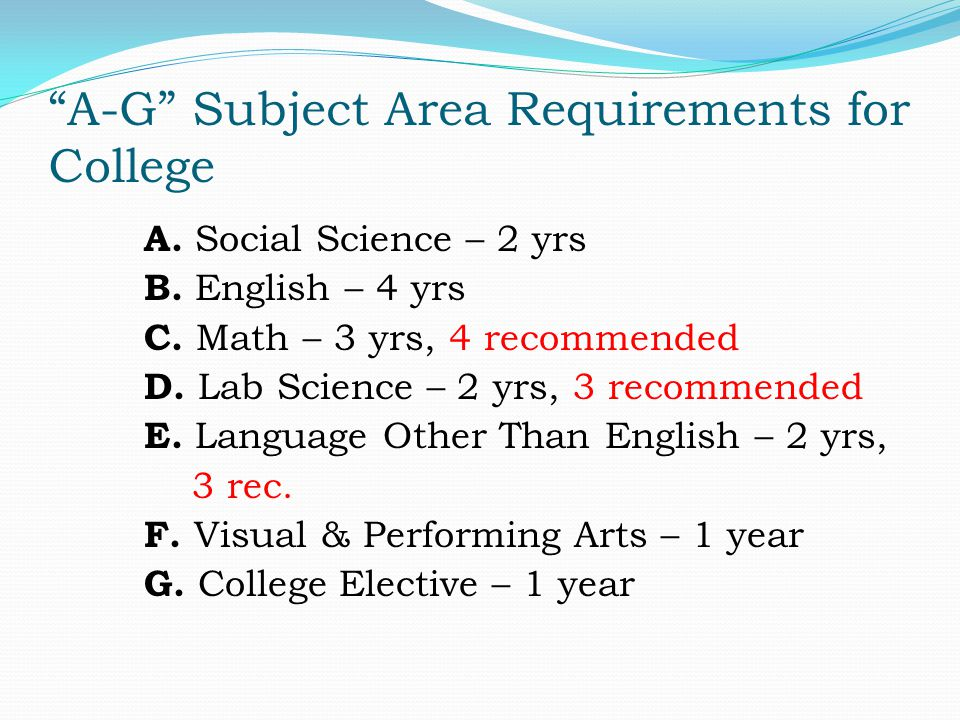 A-G Subject Area Requirements for College A. Social Science – 2 yrs B.