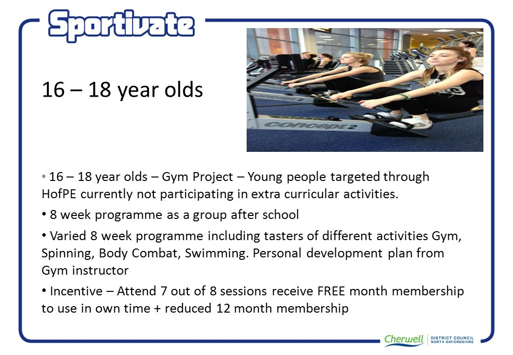 16 – 18 year olds 16 – 18 year olds – Gym Project – Young people targeted through HofPE currently not participating in extra curricular activities.