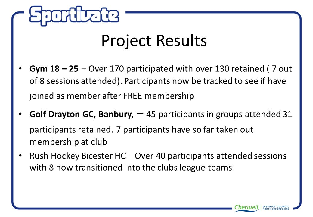 Project Results Gym 18 – 25 – Over 170 participated with over 130 retained ( 7 out of 8 sessions attended).