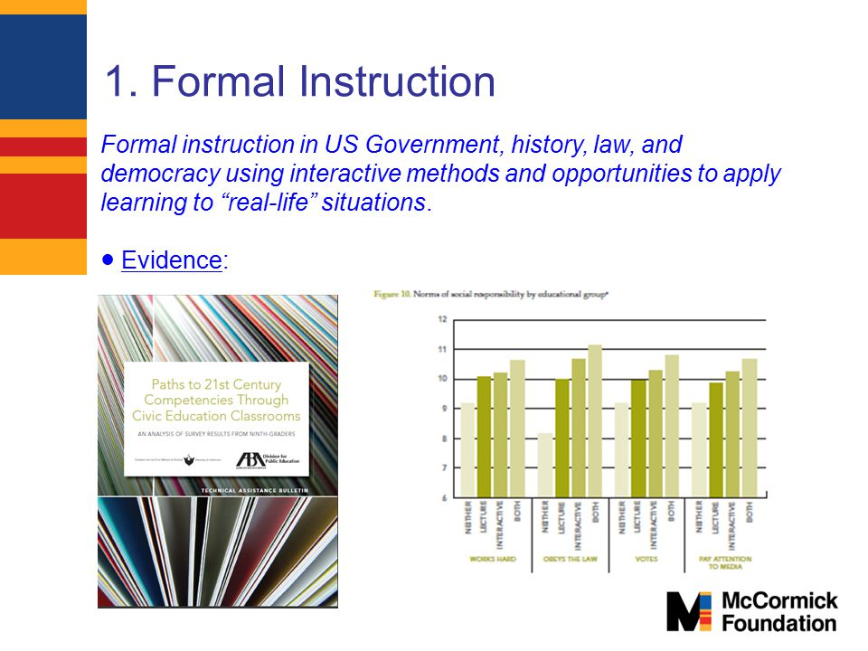 1. Formal Instruction Formal instruction in US Government, history, law, and democracy using interactive methods and opportunities to apply learning t