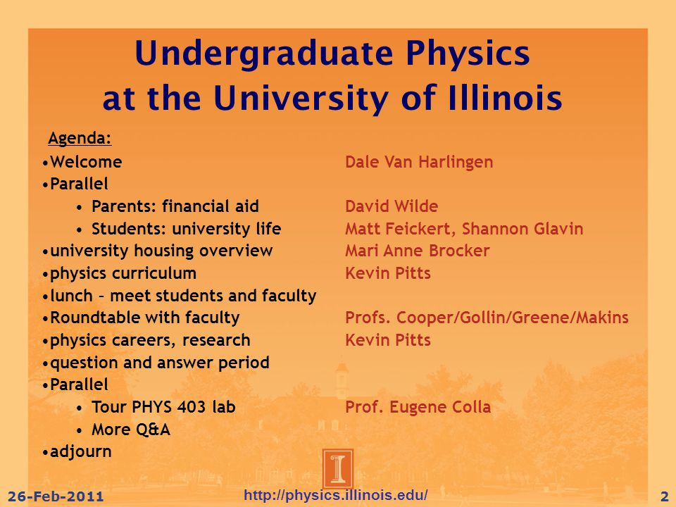 http://physics.illinois.edu/ 26-Feb-201113 Degree Requirements  Core Physics Courses  Core Math courses (+2 courses = math minor)  Supporting courses (Chem, CS)  General Education requirements  Elective Options  Free electives