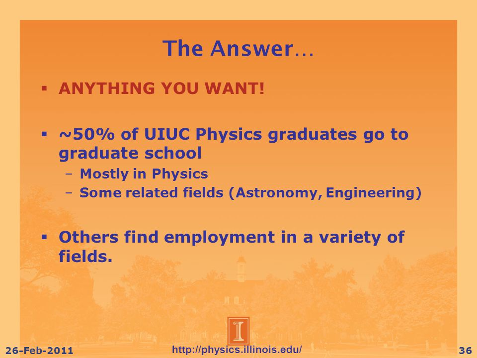 http://physics.illinois.edu/ 26-Feb-201136 The Answer…  ANYTHING YOU WANT.