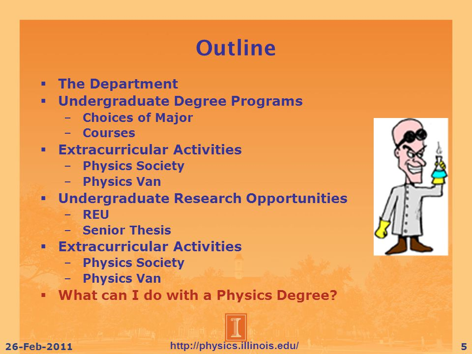 http://physics.illinois.edu/ 26-Feb-20115 Outline  The Department  Undergraduate Degree Programs – Choices of Major – Courses  Extracurricular Activities – Physics Society – Physics Van  Undergraduate Research Opportunities – REU – Senior Thesis  Extracurricular Activities – Physics Society – Physics Van  What can I do with a Physics Degree
