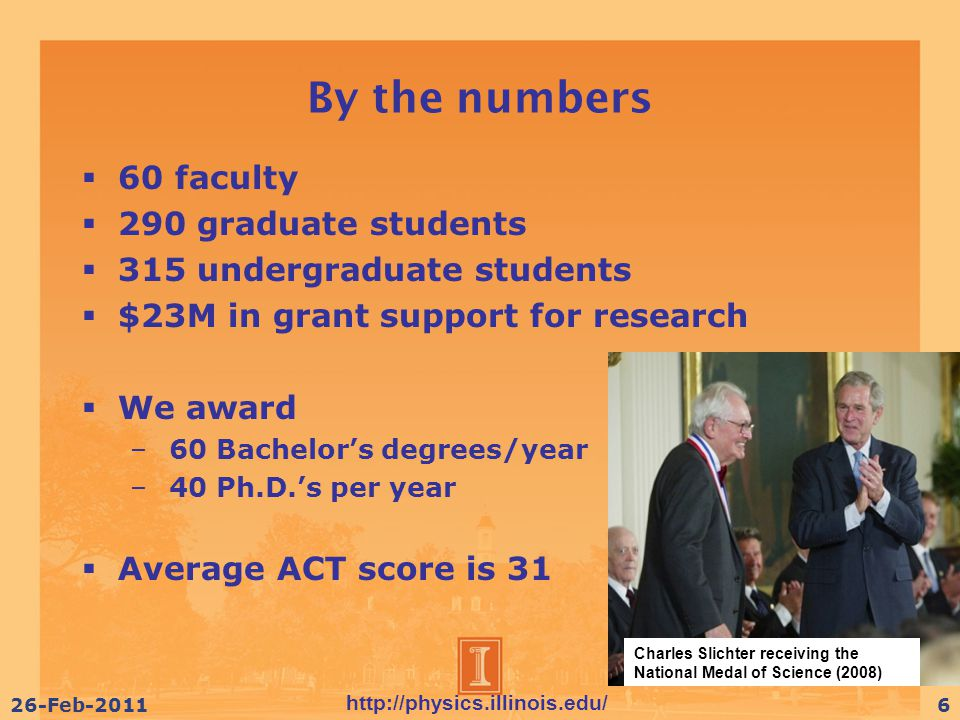 http://physics.illinois.edu/ 26-Feb-20116 By the numbers  60 faculty  290 graduate students  315 undergraduate students  $23M in grant support for research  We award – 60 Bachelor's degrees/year – 40 Ph.D.'s per year  Average ACT score is 31 Charles Slichter receiving the National Medal of Science (2008)