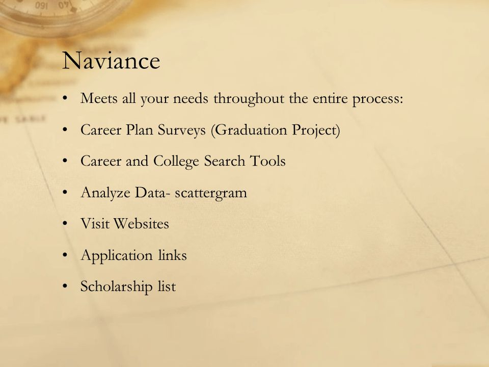 Naviance Meets all your needs throughout the entire process: Career Plan Surveys (Graduation Project) Career and College Search Tools Analyze Data- sc