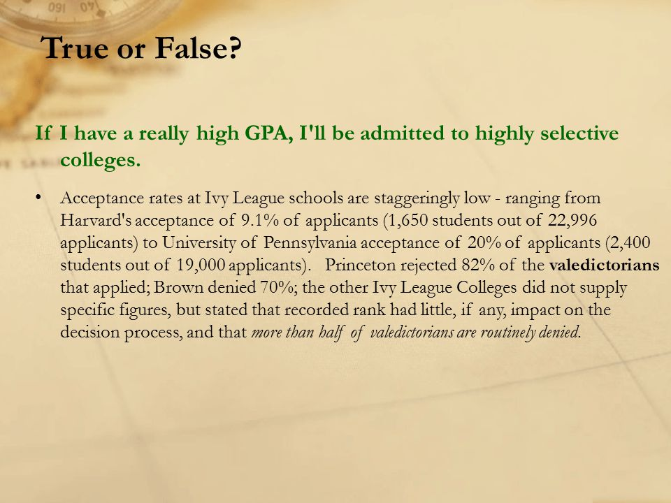 If I have a really high GPA, I'll be admitted to highly selective colleges. Acceptance rates at Ivy League schools are staggeringly low - ranging from