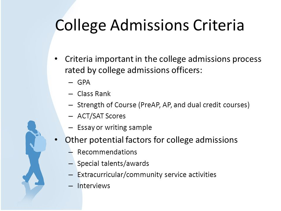 College Admissions Criteria Criteria important in the college admissions process rated by college admissions officers: – GPA – Class Rank – Strength of Course (PreAP, AP, and dual credit courses) – ACT/SAT Scores – Essay or writing sample Other potential factors for college admissions – Recommendations – Special talents/awards – Extracurricular/community service activities – Interviews
