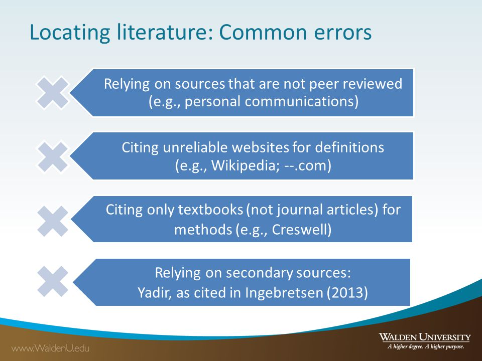 Locating literature: Common errors Relying on sources that are not peer reviewed (e.g., personal communications) Citing unreliable websites for defini