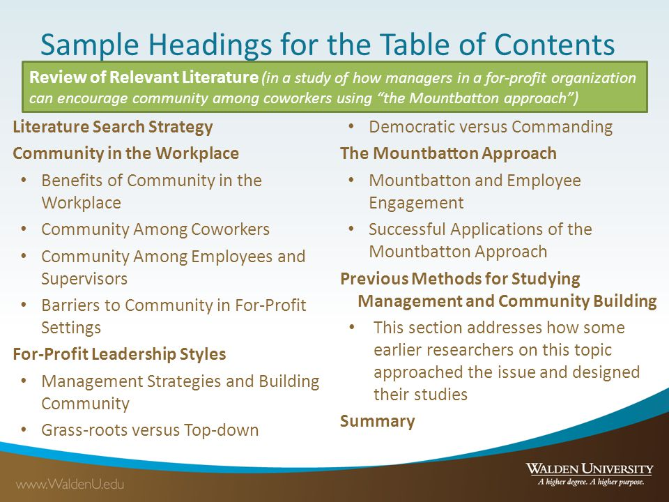 Sample Headings for the Table of Contents Literature Search Strategy Community in the Workplace Benefits of Community in the Workplace Community Among