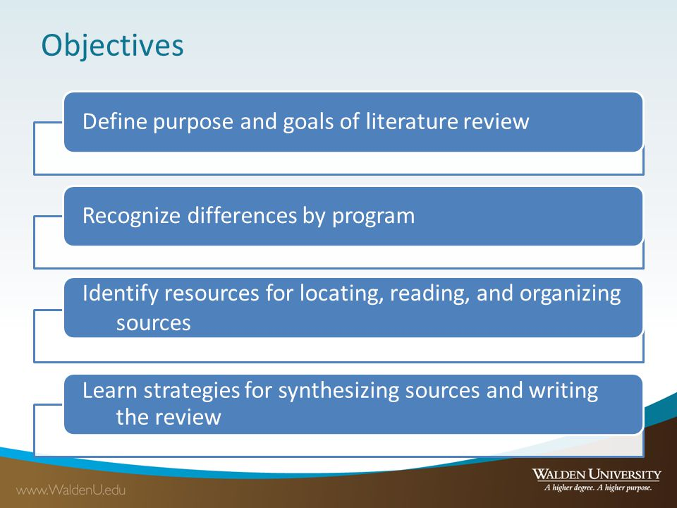 Writing the literature review: Synthesis Summary Brief description of one source's main ideas Tell brief story of each source Annotated bibliography Synthesis Extended explanation of ideas, trends, themes, theories, and/or methods among multiple sources Combine multiple sources to tell detailed story of your topic Literature review