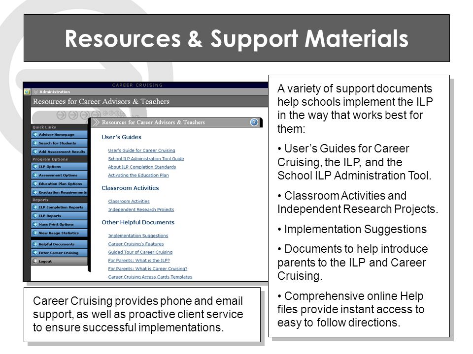 Resources & Support Materials A variety of support documents help schools implement the ILP in the way that works best for them: User's Guides for Career Cruising, the ILP, and the School ILP Administration Tool.
