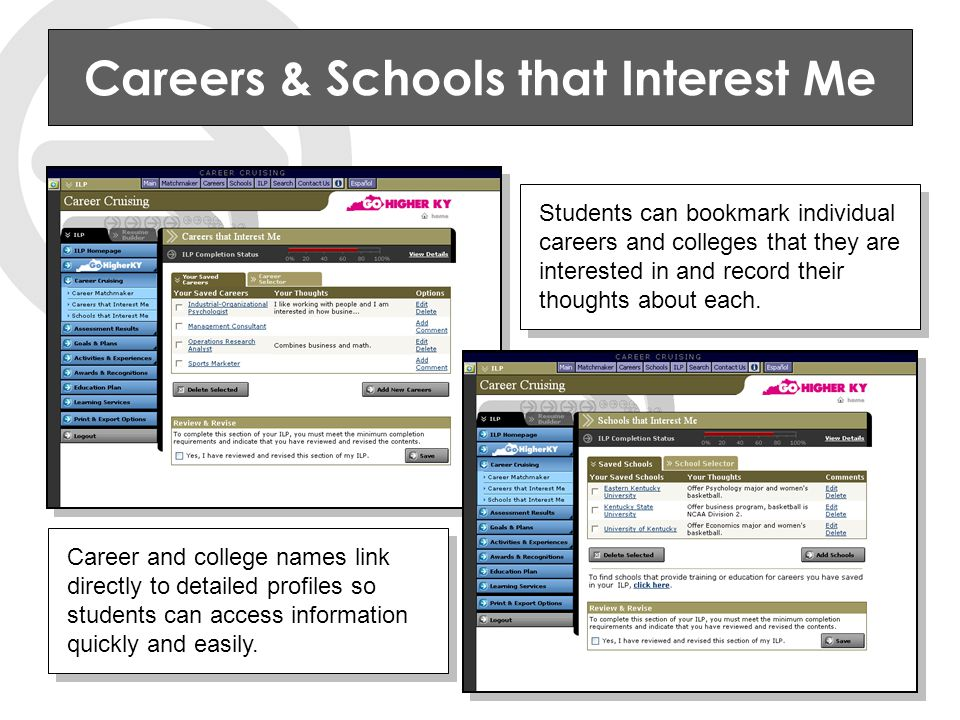 Careers & Schools that Interest Me Students can bookmark individual careers and colleges that they are interested in and record their thoughts about each.
