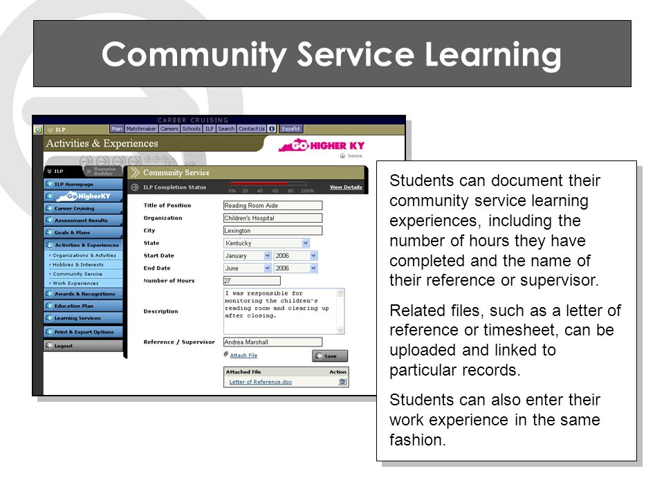 Community Service Learning Students can document their community service learning experiences, including the number of hours they have completed and the name of their reference or supervisor.