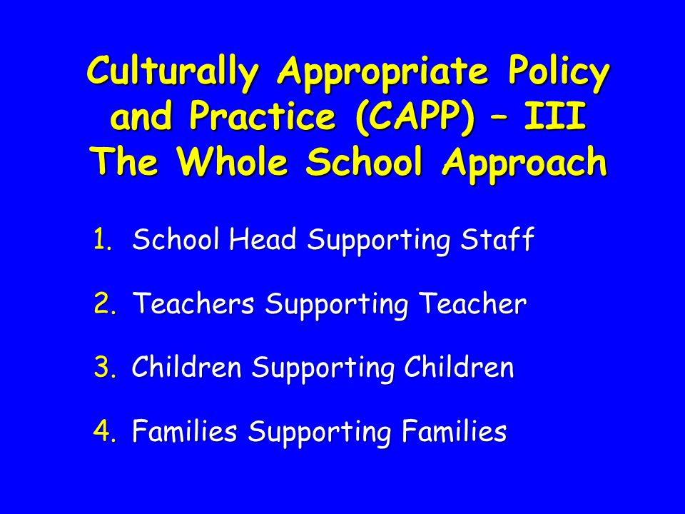 Culturally Appropriate Policy and Practice (CAPP) – III The Whole School Approach 1.School Head Supporting Staff 2.Teachers Supporting Teacher 3.Child