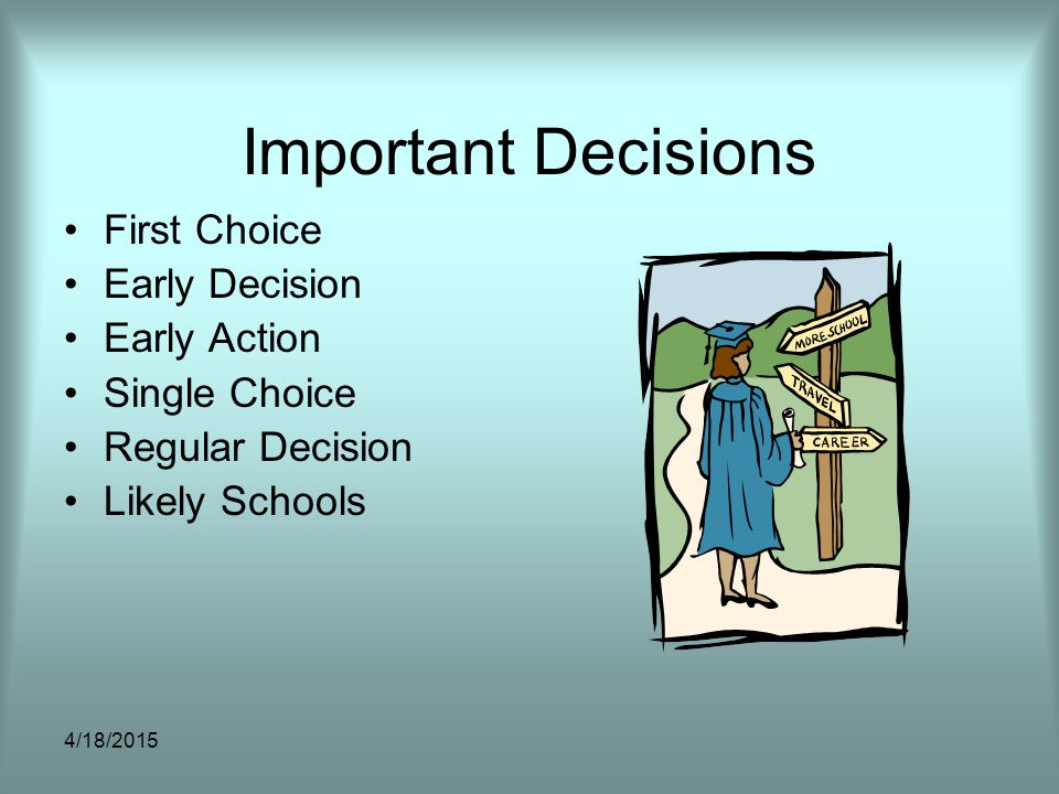 Important Decisions First Choice Early Decision Early Action Single Choice Regular Decision Likely Schools 4/18/2015