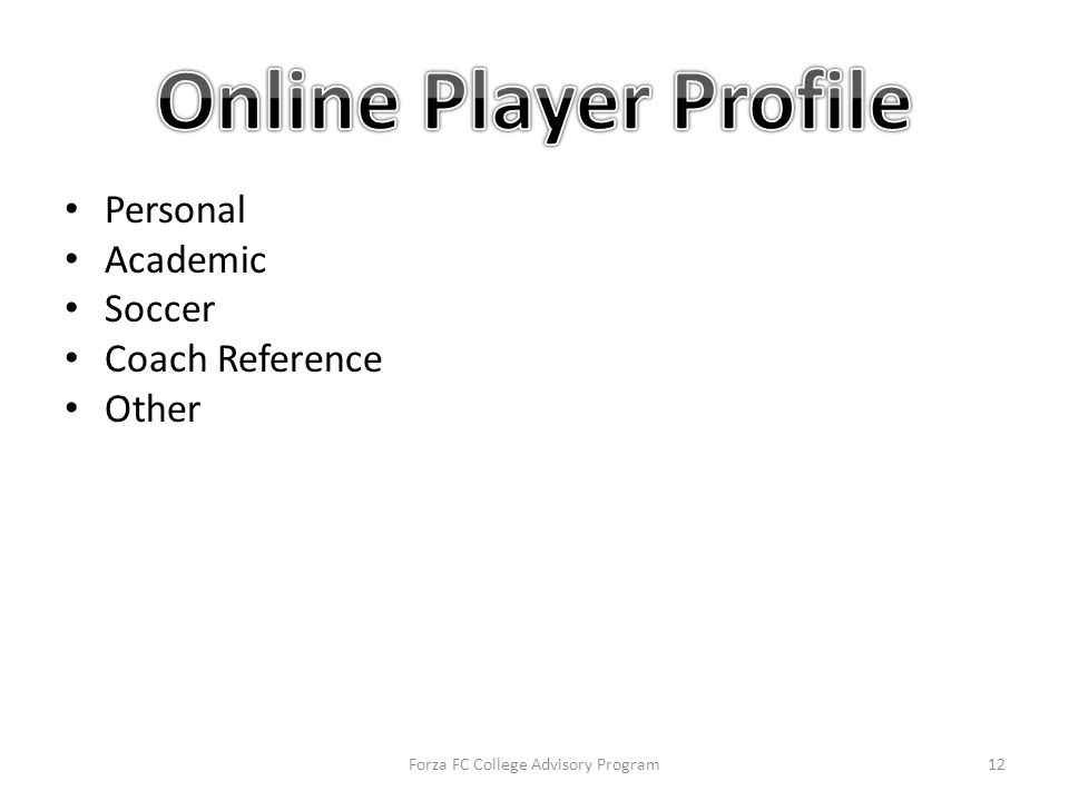 Personal Academic Soccer Coach Reference Other Forza FC College Advisory Program12