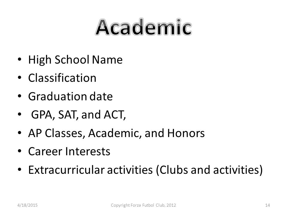 High School Name Classification Graduation date GPA, SAT, and ACT, AP Classes, Academic, and Honors Career Interests Extracurricular activities (Clubs and activities) 4/18/2015Copyright Forza Futbol Club, 201214