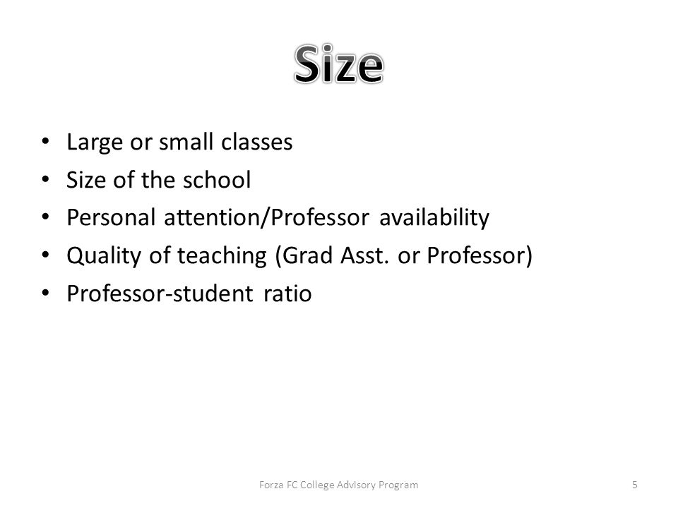 Large or small classes Size of the school Personal attention/Professor availability Quality of teaching (Grad Asst.