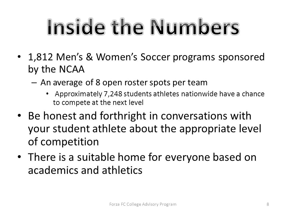 1,812 Men's & Women's Soccer programs sponsored by the NCAA – An average of 8 open roster spots per team Approximately 7,248 students athletes nationwide have a chance to compete at the next level Be honest and forthright in conversations with your student athlete about the appropriate level of competition There is a suitable home for everyone based on academics and athletics Forza FC College Advisory Program8