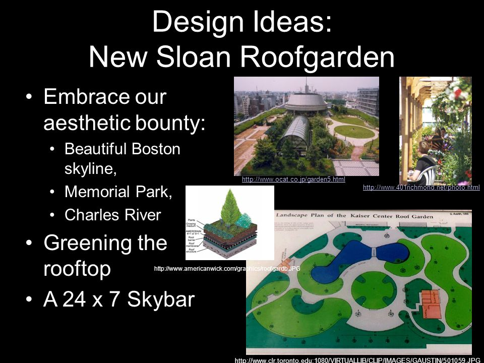 Design Ideas: New Sloan Roofgarden Embrace our aesthetic bounty: Beautiful Boston skyline, Memorial Park, Charles River Greening the rooftop A 24 x 7 Skybar http://www.401richmond.net/photo.html http://www.clr.toronto.edu:1080/VIRTUALLIB/CLIP/IMAGES/GAUSTIN/501059.JPG http://www.ocat.co.jp/garden5.html http://www.americanwick.com/graphics/roofgardb.JPG