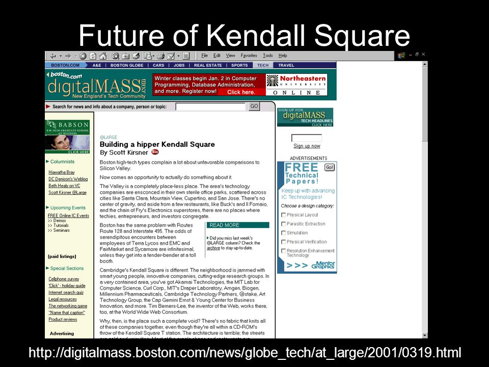 Future of Kendall Square http://digitalmass.boston.com/news/globe_tech/at_large/2001/0319.html