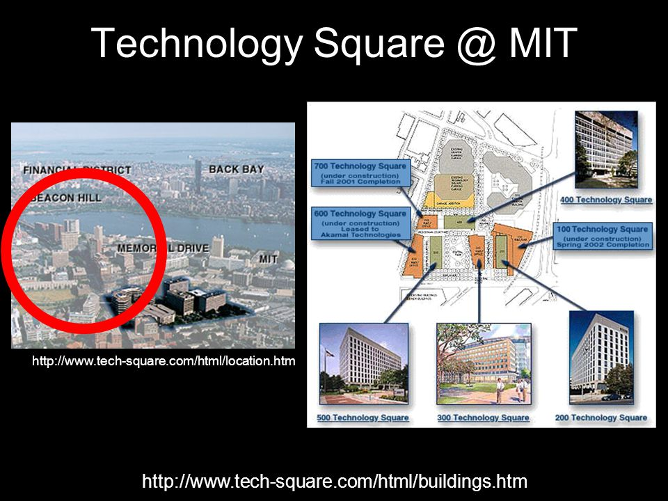Technology Square @ MIT http://www.tech-square.com/html/buildings.htm http://www.tech-square.com/html/location.htm